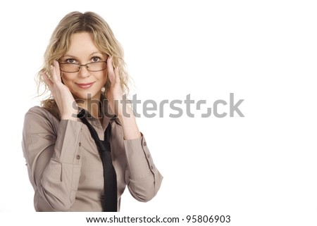 Portrait of the attractive business girl  wearing spectacles and