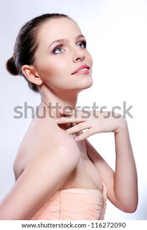 Portrait of the attractive girl with a make-up - stock photo