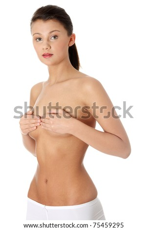 Portrait of the attractive topless woman isolated on white