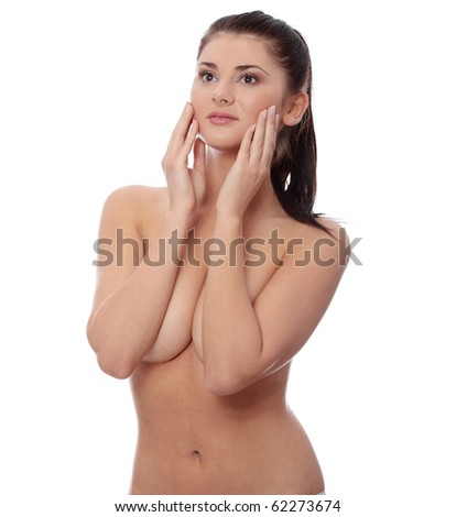 Portrait of the attractive topless woman without a make-up, isolated on white background