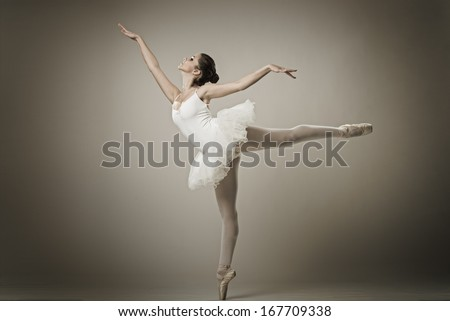 Portrait of the ballerina in ballet pose - stock photo