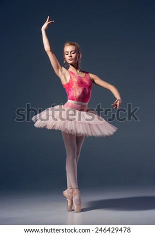 Portrait of the ballerina in ballet pose on a grey background. Ballerina is wearing  pink tutu and pointe shoes - stock photo