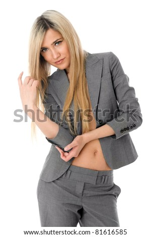 Portrait of the beautiful blonde with naked stomach - stock photo