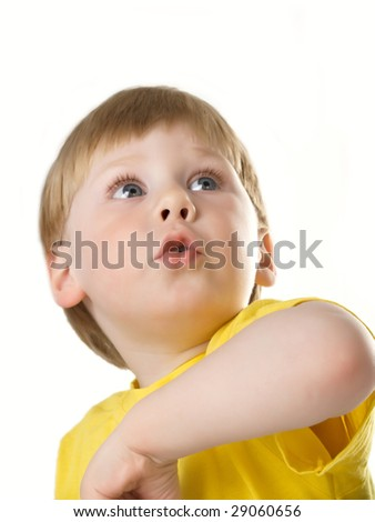 Portrait of the beautiful boy on white background - stock photo