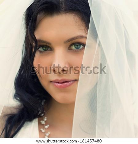 Portrait of the beautiful bride - stock photo