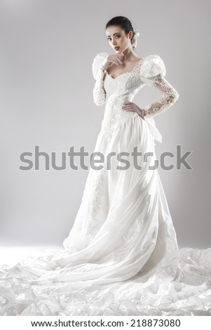 Portrait of the beautiful bride in wedding dress - stock photo