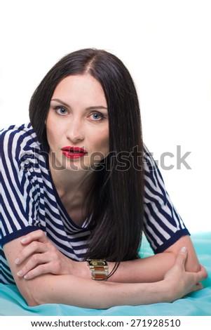 Portrait of the beautiful brunette - stock photo