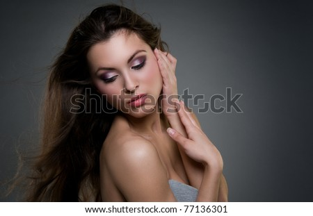 Portrait of the beautiful  girl - stock photo