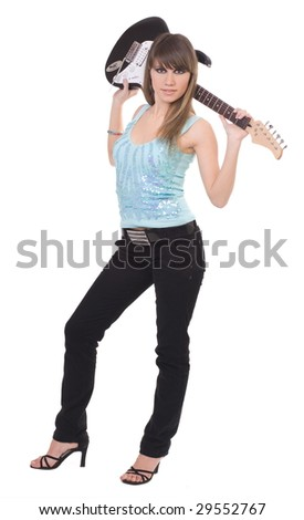 Portrait of the beautiful girl with a guitar. It is isolated on the white - stock photo