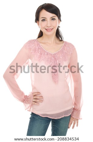 Portrait of the beautiful nice woman posing  - stock photo