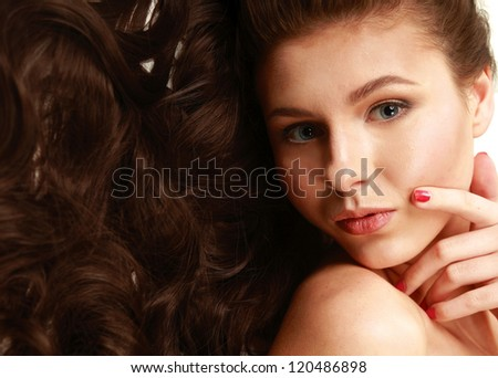 Portrait of the beautiful nice woman with long hair - stock photo