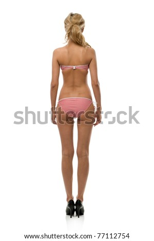 Portrait of the beautiful posing woman in underwear. Isolated image - stock photo