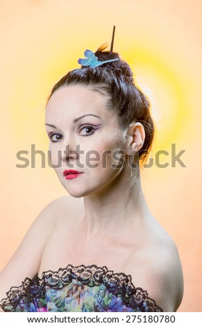 Portrait of the beautiful woman  - stock photo