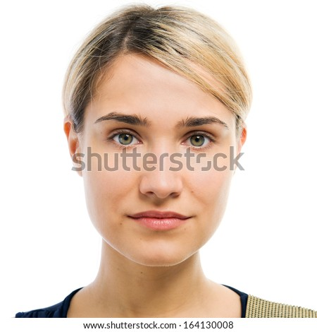 Portrait of the beautiful woman. Face without making up. - stock photo