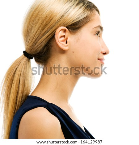 Portrait of the beautiful woman. Profile. Face without cosmetic