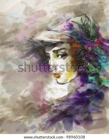 Portrait of the beautiful young girl in a hat in modern style. Drawing is executed in equipment a water color - stock photo