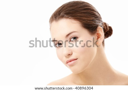 Portrait of the beautiful young woman isolated on a white background - stock photo