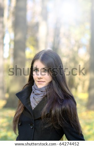 portrait of the beauty girl in park
