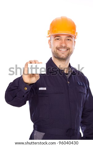 portrait of the builder with visiting card on a white background