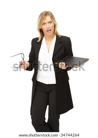 Portrait of the business women(woman) with document, studio shot