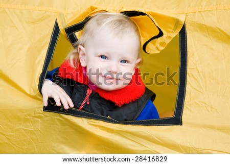portrait of the child in a tent