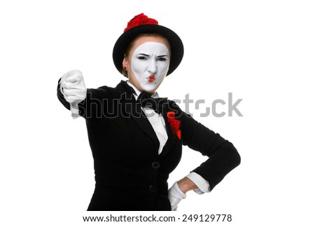 Portrait of the condemning woman as mime with dissatisfaction with a grimace on his face isolated on white background. Concept of  of rejection and condemnation - stock photo