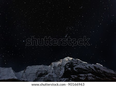 Portrait of the constellation of Orion - Nepal, Himalayas - stock photo