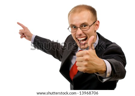 Portrait of the expressive young businessman on presentation of your product. Isolated pictures.