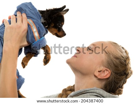 Portrait of the girl and Toy Terrier - stock photo