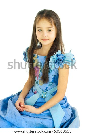Portrait of the girl in a beautiful dress - stock photo