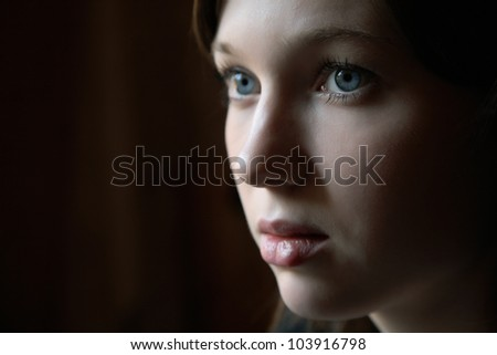 Portrait of the girl in a dark tonality on close-up - stock photo