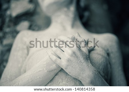 portrait of the girl's hands statue - stock photo