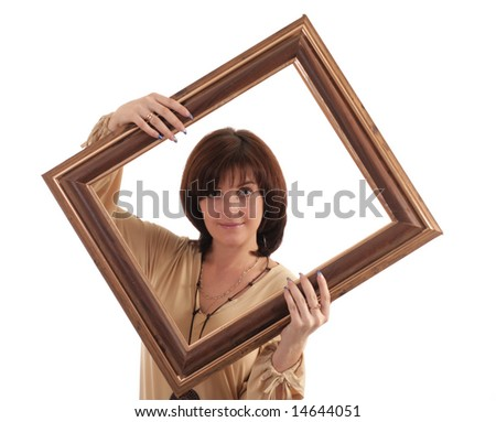 Portrait of the girl with a framework. Isolated