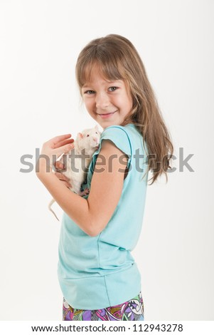 portrait of the girl with a white domestic rat