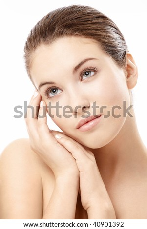 Portrait of the girl with beautiful lines of the face, isolated on a white background - stock photo