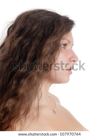 portrait of the girl with long hair in a profile