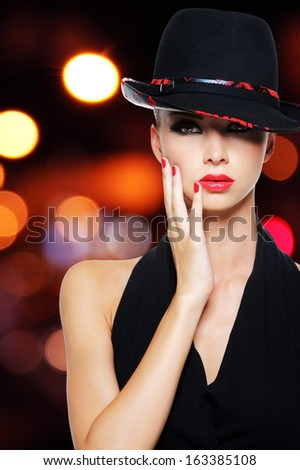 Portrait of the glamour sexy woman with sexy beautiful red lips - stock photo