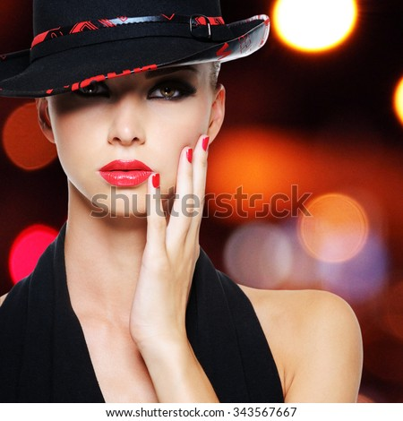 Portrait of the glamour sexy woman with sexy beautiful red lips