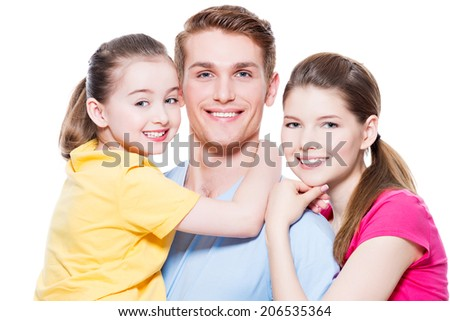 Portrait of the happy european family with child - isolated on white background.