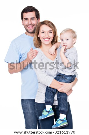 Portrait of the happy family with little baby standing on white background.