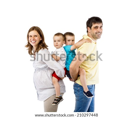Portrait of the happy family with two children and pregnant mother, isolated on white background - stock photo