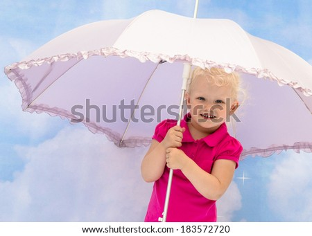 Portrait of the little girl under a umbrella