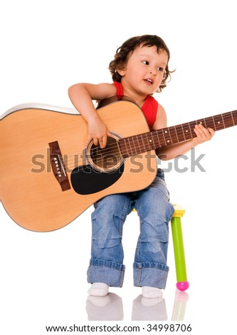 Portrait of the little guitarist on a white background. - stock photo
