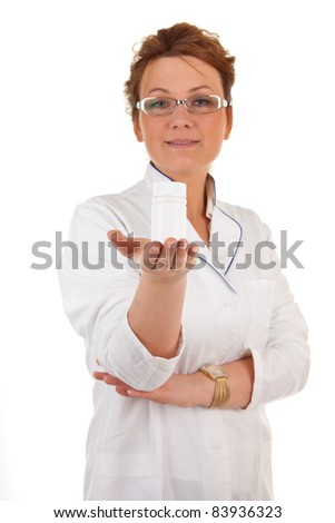 portrait of the medical worker on a white background. Focus on hand.