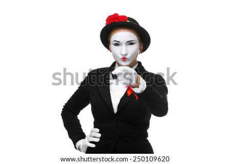 Portrait of the mime with pointing finger isolated on white background. concept of choice - stock photo