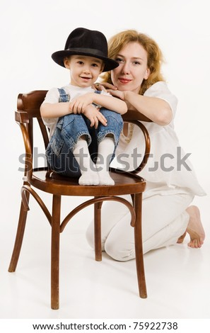 Portrait of the mother and her little son - stock photo