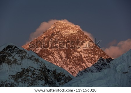 Portrait of the Mount Everest (the highest peak in the world 8848 m) at sunset (view from Kala Patthar) - Nepal, Himalayas - stock photo