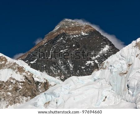Portrait of the Mt. Everest - Nepal - stock photo