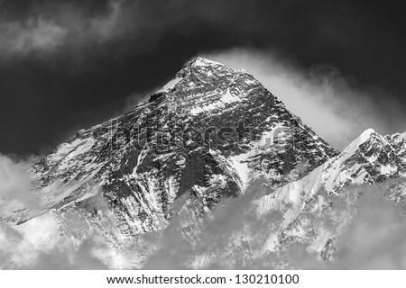 Portrait of the Mt. Everest (view from Renjo Pass) - Nepal, Himalayas (black and white) - stock photo