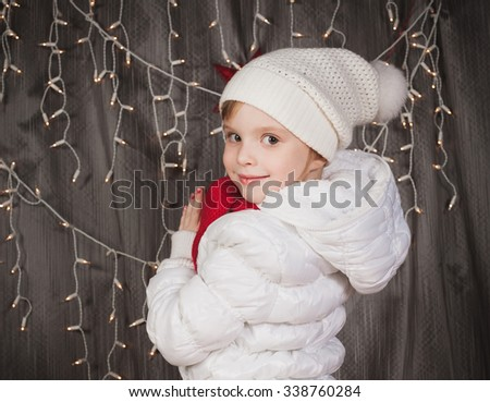 portrait of the nice girl with a red scarf  - stock photo